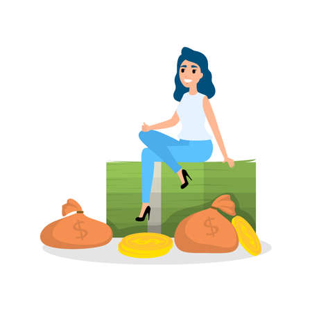 Business woman with money. Happy successfull woman sitting around a pile of money banknotes. Financial well-being. Isolated vector illustration in cartoon style Illustration