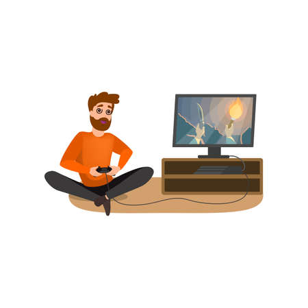Computer game addiction. Man addicted to the gaming. Bad habit and unhealthy lifestyle. Guy sitting on the floor and holding gamepad. Vector illustration in cartoon style