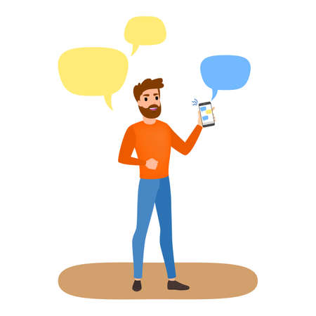 Man holding mobile phone and chatting with friends in social network. Internet addiction. Global technology problem. Isolated vector illustration in cartoon style.