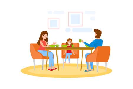 Familie beim Frühstück am Küchentisch. Glückliche Eltern und Kinder essen zusammen. Vater, Mutter und Tochter beim Mittag- oder Abendessen. Isolierte flache Vektorillustration