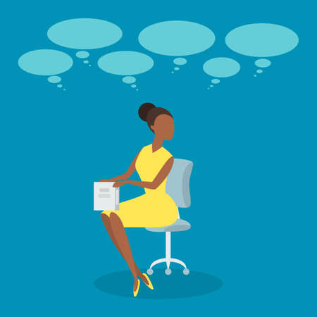 Woman with speech bubble around. Female character talking or think. Discussion and conversation concept. Flat vector illustration