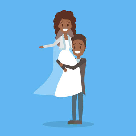 Couple wedding. Bride and groom. Romantic people and white dress for ceremony. Isolated flat vector illustration