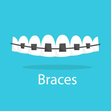 Tooth in braces. Idea of medical treatment and dental