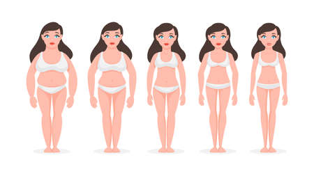 Fat woman become slim. Weight loss concept