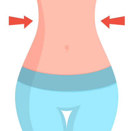 Slim thin waist. Beautiful female figure. Fit belly. Idea of diet and sport exercise. Skinny stomach. Ideal body shape. Isolated vector illustration in cartoon style