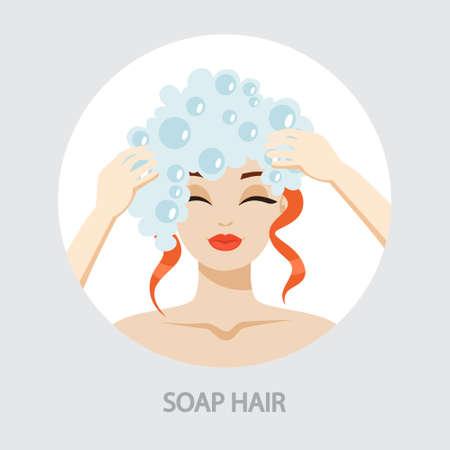 Femme se lavant les cheveux avec du shampoing sous la douche. Mousse sur la tête. Idée d'hygiène et de beauté. Illustration vectorielle isolée