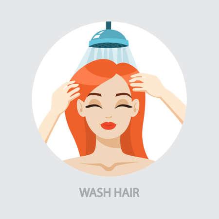 Vrouw die haar haar met shampoo in douche wast. Idee van hygiëne en schoonheid. Geïsoleerde vectorillustratie