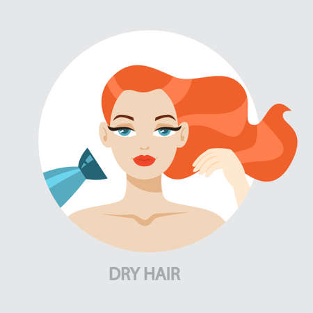 Beautiful woman dry her hair using hairdryer. Styling hair. Idea of beauty and fashion. Care for ginger hair. Isolated vector illustration
