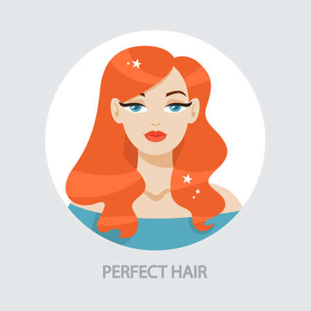 Beautiful woman portrait with curly hair. Ginger female character with makeup. Idea of fashion lifestyle and glamour. Isolated vector illustration  イラスト・ベクター素材