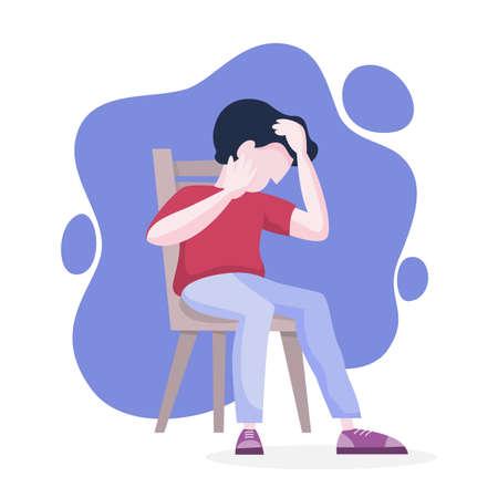 Désordre mental. L'homme souffre de dépression et d'anxiété. Peur et stress, personne malheureuse. Illustration vectorielle en style cartoon