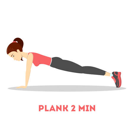 Woman doing plank in the gym. Belly burn workout. Girl make exercise. ABS workout. Healthy and active lifestyle. Isolated vector illustration