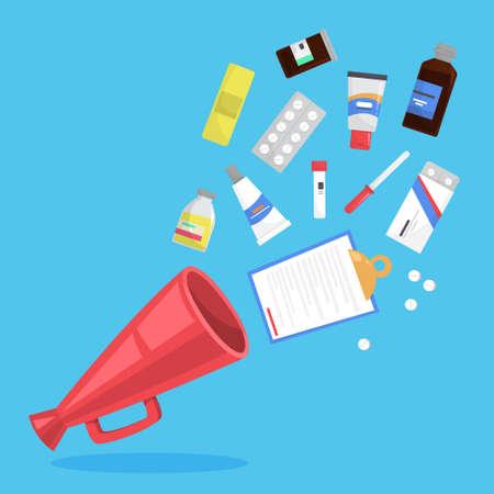 Medication set. Collection of pharmacy drug. Medicine pill for disease treatment. Drugstore concept. Flat vector illustration