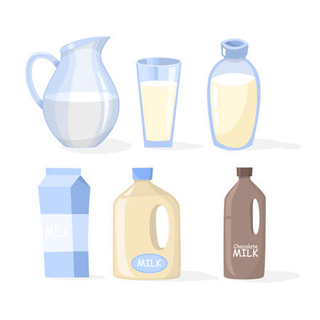 Milk set. Collection of dairy product in a glass and bottle. Natural white liquid full of calcium. Organic nutrition. Isolated vector illustration in cartoon style Ilustração