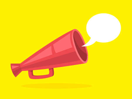 Red megaphone with speech bubble. Announcement and advertisement. Shout through loudspeaker. Vector illustration in cartoon style Illustration
