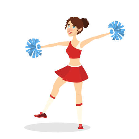 Beautiful cheerleader standing in uniform with pompoms and smiling. Female character. American football team support. Pretty teenager dancing. Isolated vector illustration in cartoon style Stock Vector - 124593038