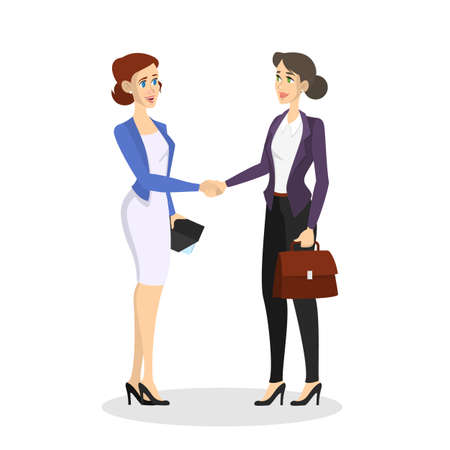 Two people shaking hands. Business deal and partnership between women. Idea of teamwork and agreement. Vector illustration in cartoon style