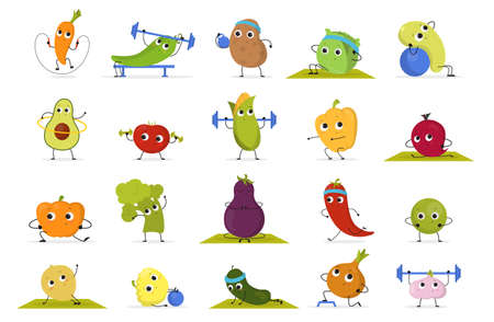 Vegetable and fruit training set. Collection of food character doing sport exercise. Funny face. Meditation and workout with dumbbell. Isolated vector illustration in cartoon style