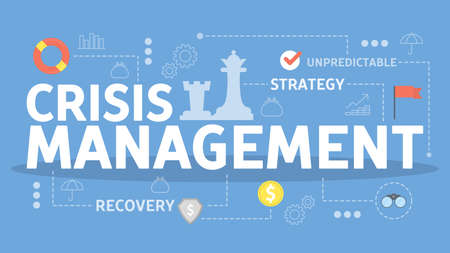 Crisis management concept. Idea of risk control and safety from disaster. Protection from failure and dangerous situation. Isolated vector flat illustration Vettoriali