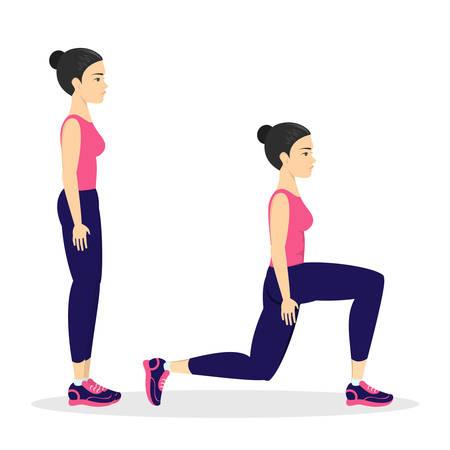 Mujer haciendo estocadas. Haciendo ejercicios deportivos en el gimnasio. Entrenamiento de piernas. Desarrollo muscular. Estilo de vida saludable y activo. Ilustración de vector aislado