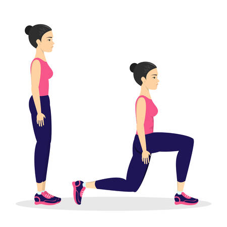 Woman making lunges. Doing sport exercises in gym. Leg workout. Muscle building. Healthy and active lifestyle. Isolated vector illustration Ilustração