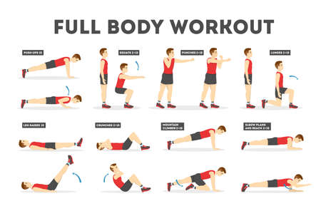 Full body workout set. Exercise for man. Weight loss and muscle building. Idea of sport and healthy lifestyle. Isolated vector illustration in cartoon style