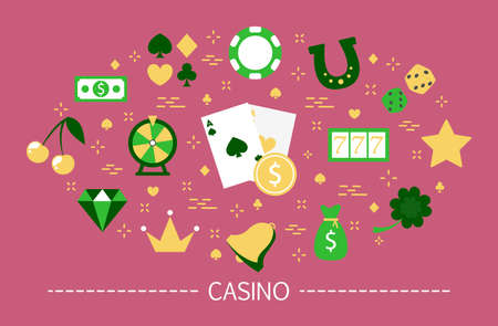 Casino concept. Gamble addiction. Play pocker and roulette Illustration