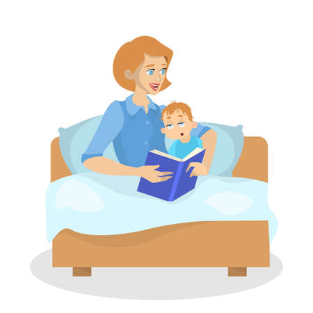 Mother reading book for a kid at bedtime. Woman telling tales from the story book. Baby boy is sleepy. Isolated vector illustration in cartoon style