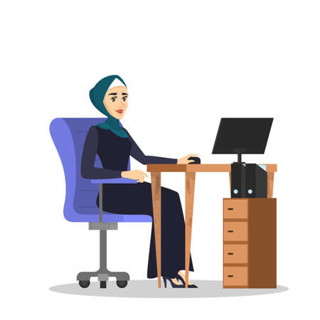 Muslim woman in hijab working at the desk s