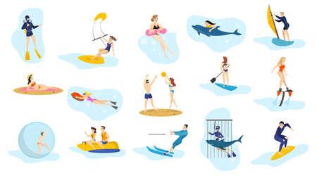 Summer ocean activities set. Water sport, vacation on the beach. Surfing and swim, diving. Isolated vector illustration in cartoon style