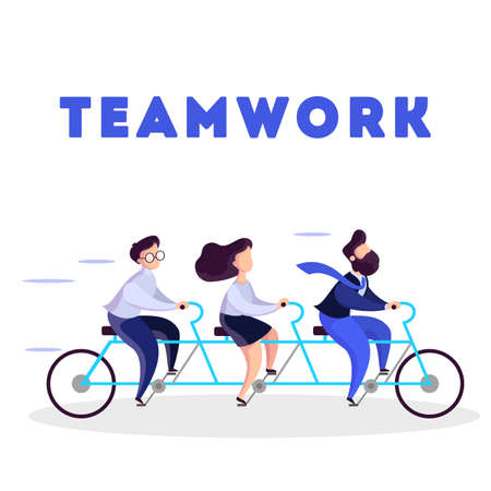 Business team ride on tandem bicycle. Idea of teamwork and cooperation. Group of people on the race. Isolated vector illustration in cartoon style