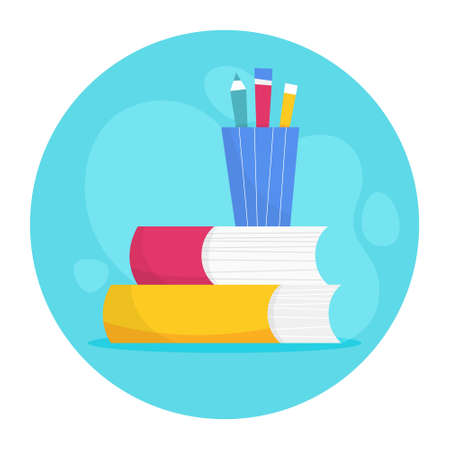 Stack of books, Idea of education and knowledge. Library concept. School literature. Vector illustration in cartoon style