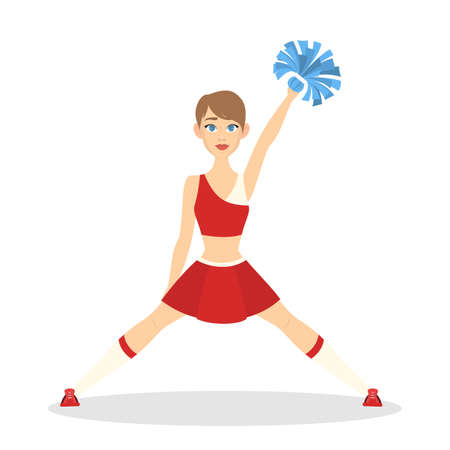 Beautiful cheerleader standing in uniform with pompoms and smiling. Female character. American football team support. Pretty teenager dancing. Isolated vector illustration in cartoon style Illustration