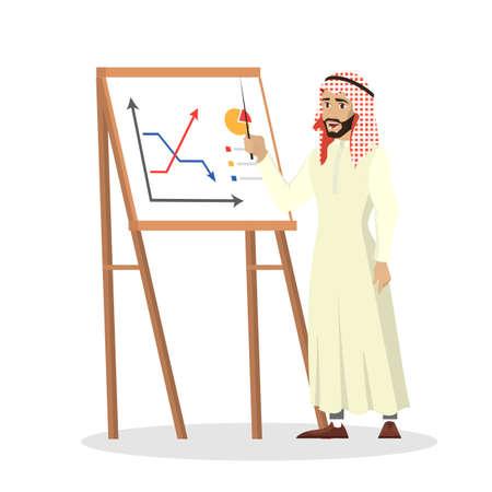 Arab businessman making business presentation. Saudi manager
