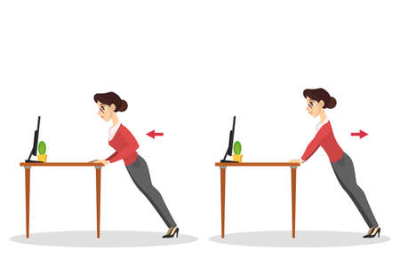 Woman doing exercise for back stretch in office