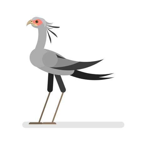Secrétaire oiseau. Animal sauvage avec plume colorée. La faune africaine. Grandes pattes et ailes. Illustration vectorielle isolée en style cartoon Vecteurs
