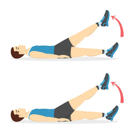Man doing belly burn workout in the gym. Guy make exercise. ABS workout. Healthy and active lifestyle. Isolated vector illustration
