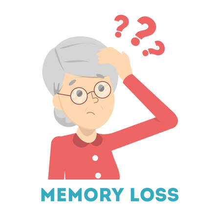 Old woman suffering from the memory loss. Confused person with question mark above. Dementia, alzheimer disease symptom. Isolated vector illustration in cartoon style Vector Illustratie