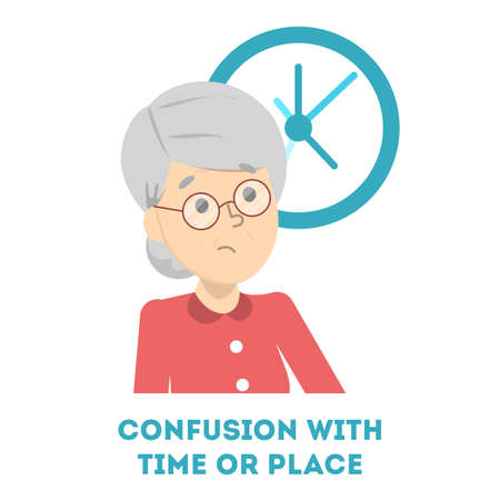 Confusion with time or place as symptom of alzheimer disease. Old woman lost in time. Confused elderly person. Isolated vector illustration in cartoon style Illustration