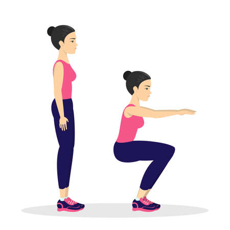 Woman making squats. Exercise for butt. Leg workout