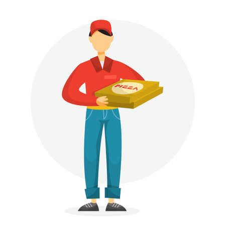 Pizza delivery man holding pizza box. Male character in red uniform. Courier from pizzeria. Vector illustration in cartoon style