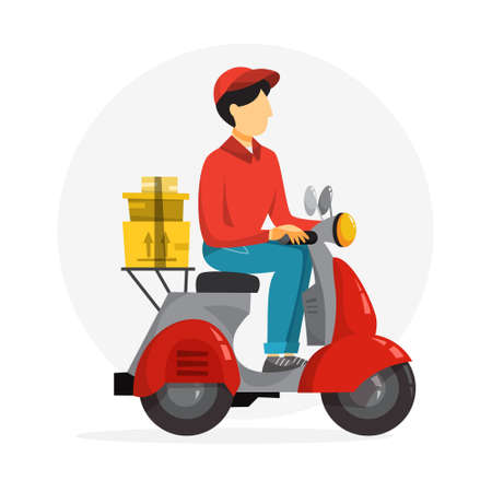 Delivery service concept. Courier with box on moped. Person in uniform on scooter. Isolated flat vector illustration