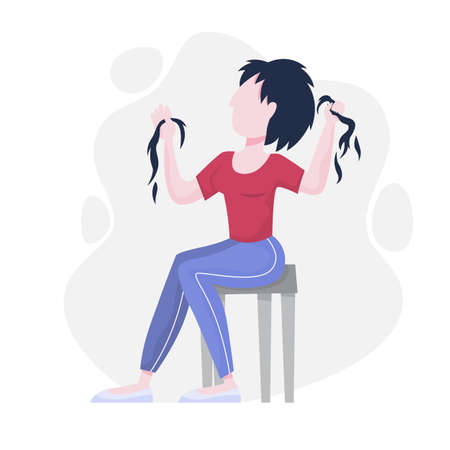 Mental disorder. Woman suffer from depression and anxiety. Fear and stress, unhappy person. Vector illustration in cartoon style
