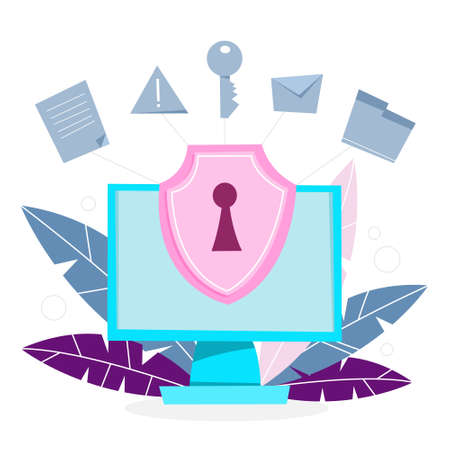 Data privacy concept. Idea of safety and protection while using internet for communication. Firewall, lock and information security. Computer guard. Vector illustration in cartoon style Vektoros illusztráció