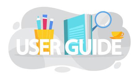 Concetto di manuale utente. Guida o istruzioni. Guida e tutorial per gli utenti. Manuale. Illustrazione vettoriale in stile cartone animato Vettoriali