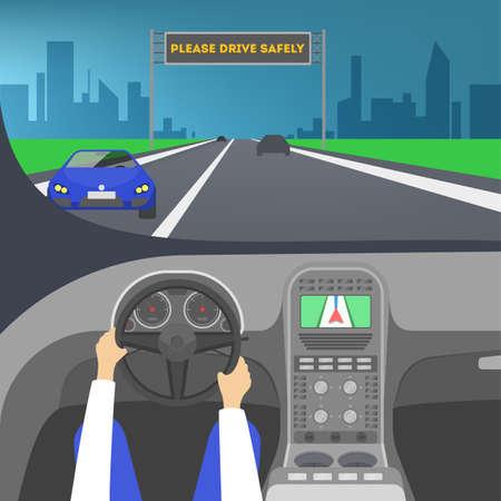 Driver inside a car. Hand on the steering wheel Standard-Bild - 119162714