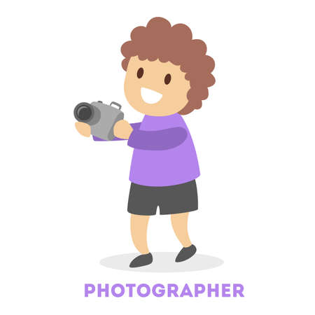 Happy child holding a camera. Photography hobby. Little boy take pictures. Creative activities. Flat vector illustration