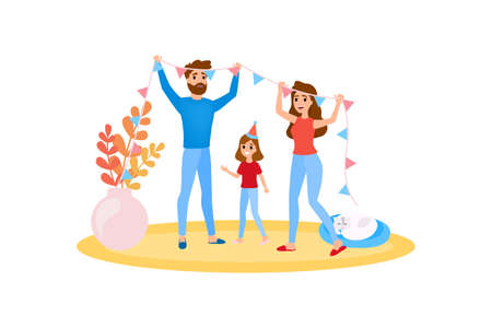 Familia decorar el hogar juntos. Niña feliz diviértete. La madre y el padre pasan tiempo con el niño. Ilustración de vector aislado en estilo de dibujos animados. Ilustración de vector