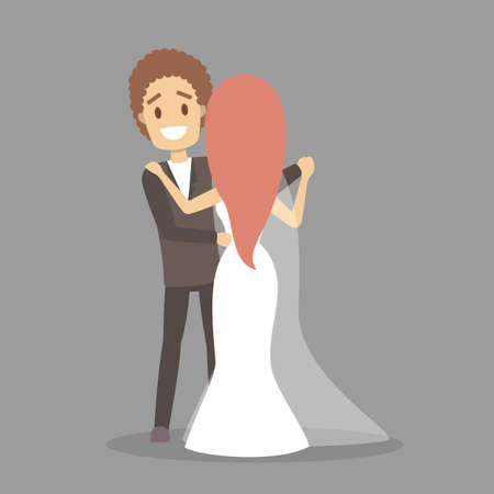 Couple wedding. Bride and groom dance. Romantic people and white dress for ceremony. Isolated flat vector illustration Illustration