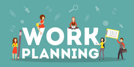 Business work planning concept. Idea of strategy and achievement in teamwork. Brainstorm and training. Isolated flat vector illustration