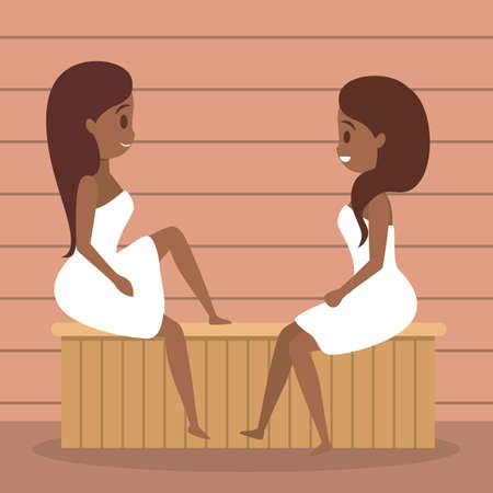 Woman in sauna. Wooden bathhouse. Spa and relax procedure. Different tool for sauna. Smiling girl in towel. Isolated flat vector illustration